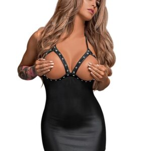 Exposed Lust Studded Wet Look Open Cup Mini Dress
