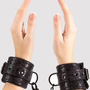 Bondage Boutique Black Rose Faux Fur Lined Wrist Cuffs