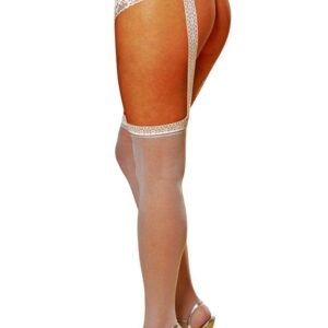 Dreamgirl Plus Size White Crotchless Suspender Tights