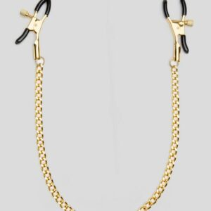 Bondage Boutique Adjustable Nipple Clamps with Gold Chain