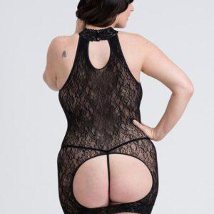 Fifty Shades of Grey Captivate Plus Size Black Lace Spanking Mini Dress