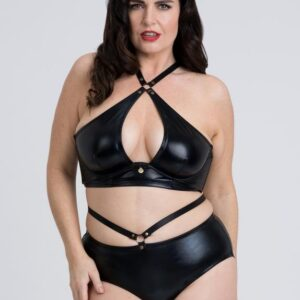 Fifty Shades of Grey Captivate Plus Size Wet Look Crotchless Bra Set