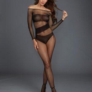 Dreamgirl Black Long Sleeve Fishnet Crotchless Bodystocking