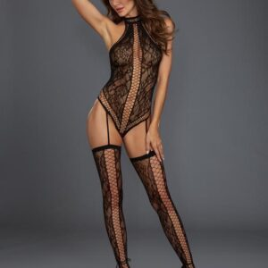 Dreamgirl Plus Size Black Fishnet and Lace Halterneck Bodystocking