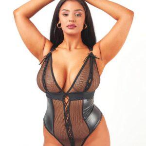 Brand X Eileen Black Wet Look and Fishnet Body
