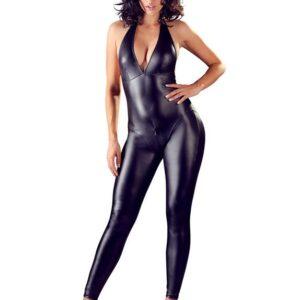 Cottelli Black Wet Look Halterneck Catsuit