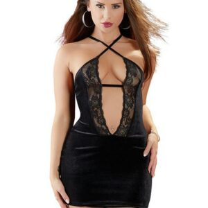 Cottelli Black Velvet and Lace Plunge Mini Dress