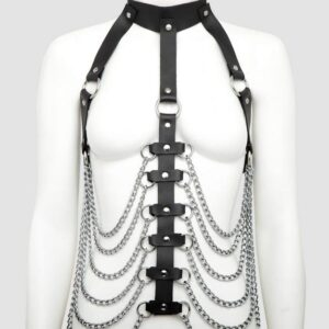 DOMINIX Deluxe Leather and Chain Open-Cup Body Harness