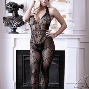 Fantasy Black Lace Halterneck Crotchless Bodystocking